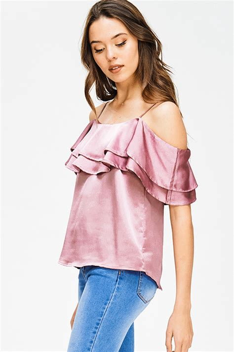 Shoulder Tank Blouse Pink shop mauve pink metallic satin ruffle tiered cold shoulder tank top