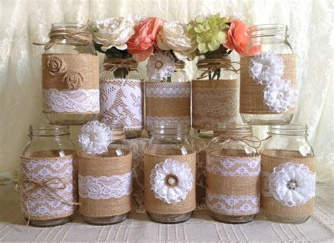 Lavender Living Room by 10x Rustic Burlap And White Lace Covered Mason Jar Vases