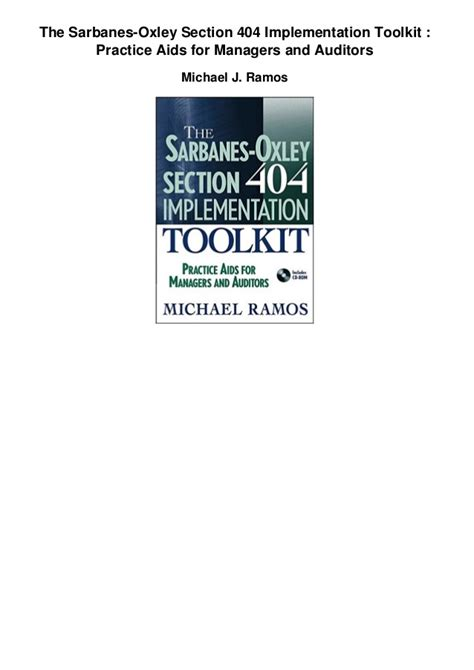 sarbane oxley section 404 the sarbanes oxley section 404 implementation toolkit