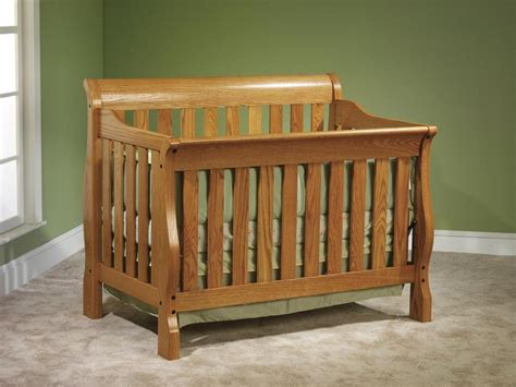 Oak Sleigh Crib by Traditional Style Crib Organic Grace