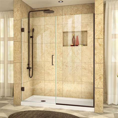 Bronze Shower Doors Dreamline Unidoor Plus 47 1 2 To 48 In X 72 In Semi Framed Hinged Shower Door With Hardware In