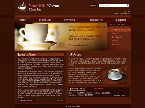 Web Template Coffee Shop By Sonic Gal007 On Deviantart Free Coffee Website Templates
