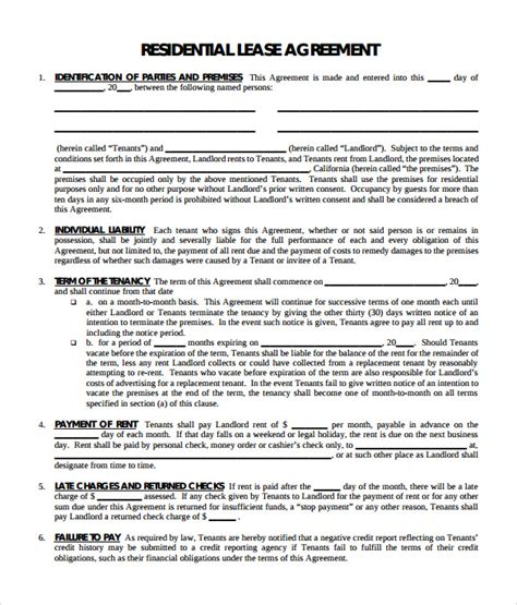 residential lease agreement templates sample templates