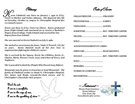 obituary program template funeral obituary template pictures to pin on