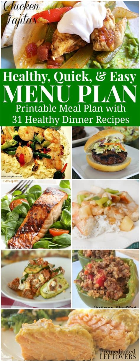 printable healthy dinner recipes healthy quick easy meal plan 31 recipes printable