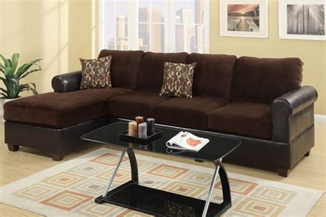 sectional sofas los angeles ca poundex radley f7105 brown microsuede sectional sofa in