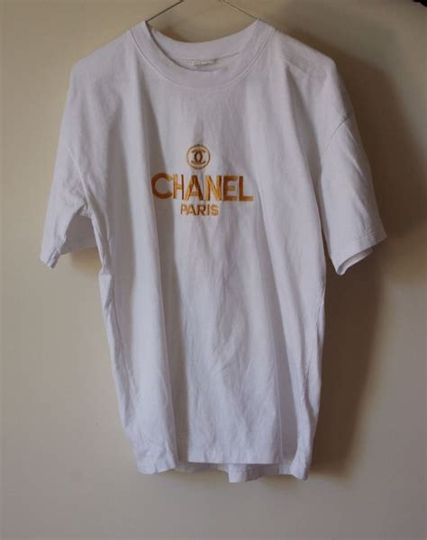 chanel logo table l chanel authentic boutique gold embroidered logo t