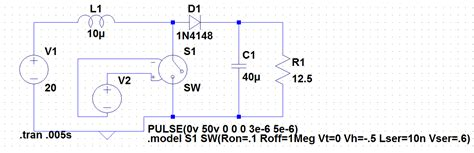 spice voltage controlled inductor switches simulating smps with ideal switch in ltspice electrical engineering stack exchange