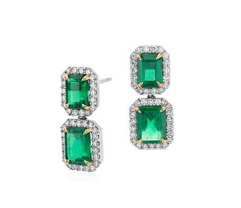 emerald cut emerald pav 233 drop earrings in 18k