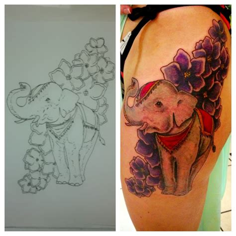 elephant tattoo with flowers elephant tattoos page 40