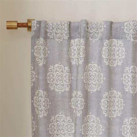 west elm medallion shower curtain cotton canvas scroll medallion curtain feather gray