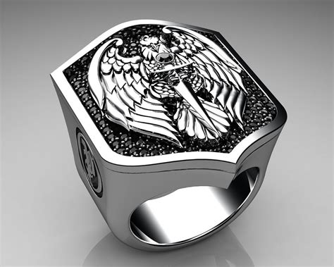 unique mens ring eagle shield ring sterling silver with bl