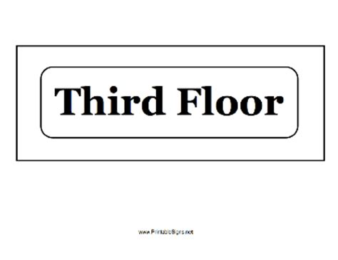3rd Floor by Printable Third Floor Sign