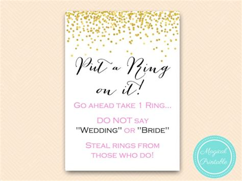 printable bridal shower ring game put a ring on it pink and gold bridal shower magical