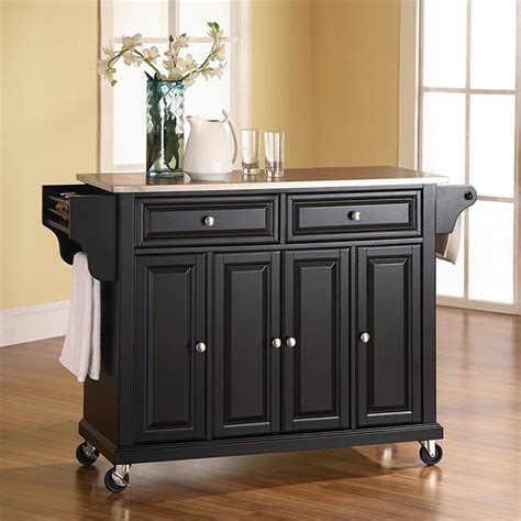 black kitchen island with stainless steel top black crosley stainless steel top kitchen cart