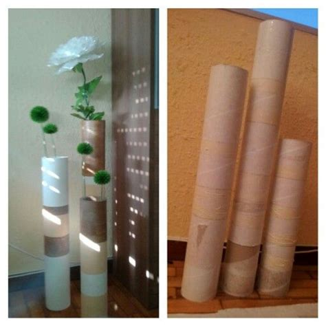 floreros tubos de carton jarron carton tubos de carton pintura flores diy