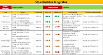 stakeholder register with roles and responsibilities excel