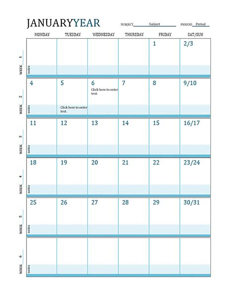 Lesson Plan Calendar Lesson Plan Schedule Template