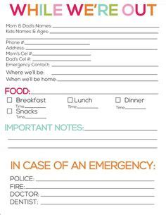 nanny information sheet template free printable notes for the kid ideas