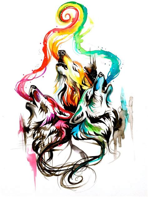 watercolor wolf tattoo designs howling wolf triad by lucky978 deviantart on