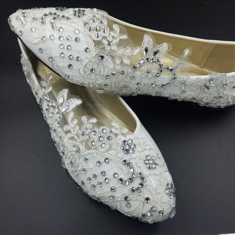 Schuhe Braut Vintage by Vintage Lace Crystals Wedding Shoes Bridal Ballet Flats