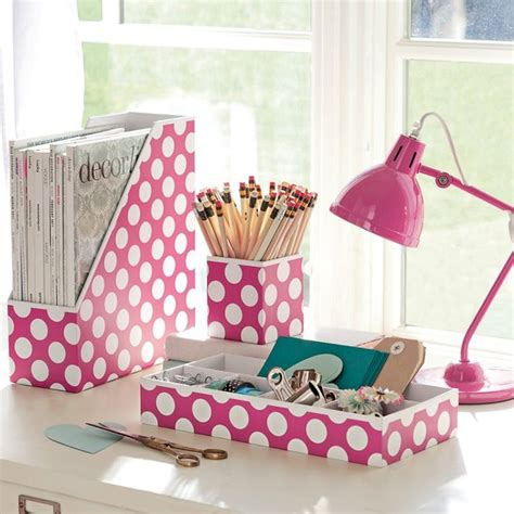 Pink Desk Organizers And Accessories Preppy Paper Desk Accessories Pink Dottie Set Of 3 Contemporary Desk Accessories By Pbteen