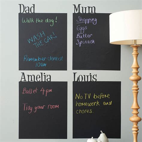 stick things to wall personalised chalkboard wall sticker by spin collective