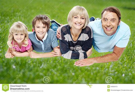 Backyard Family by Family Enjoying Their Day Outdoors Stock Photos Image