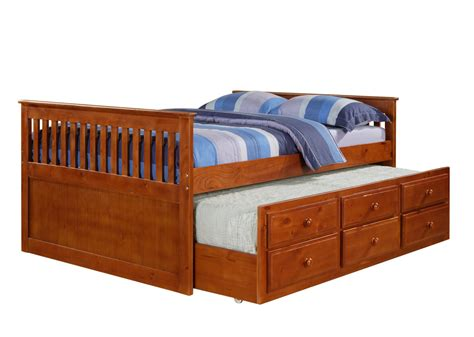 wooden full size bed with trundle loft bed design