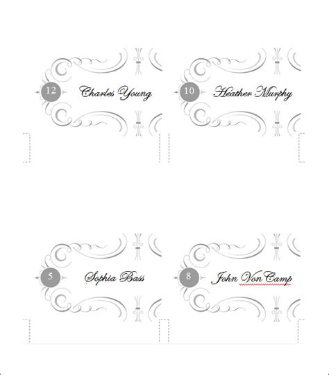 free table number place cards template 5 printable place card templates designs free
