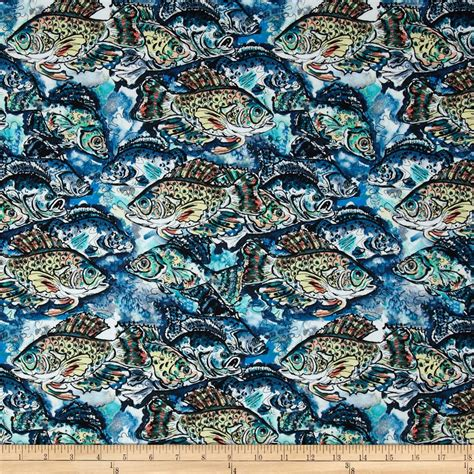 fish print upholstery fabric sea fishing school of fish blue discount designer fabric