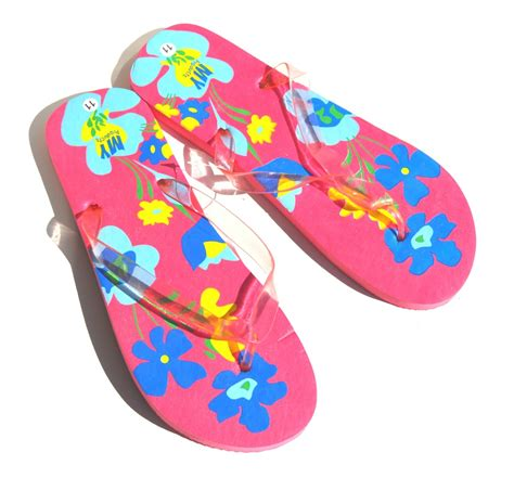 Flower Flip pink hawaiian flowers flip flops retail 38