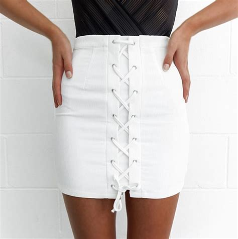 Lace Up Pencil Skirt bandage skirt summer white skirts lace up