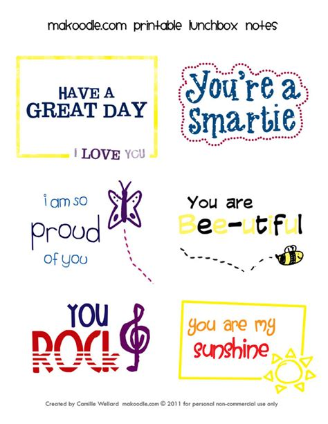 printable lunchbox notes the gaines gang lunch box love