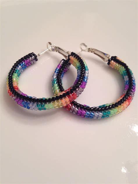 american beaded hoop earrings rainbow by birchbarkbetty