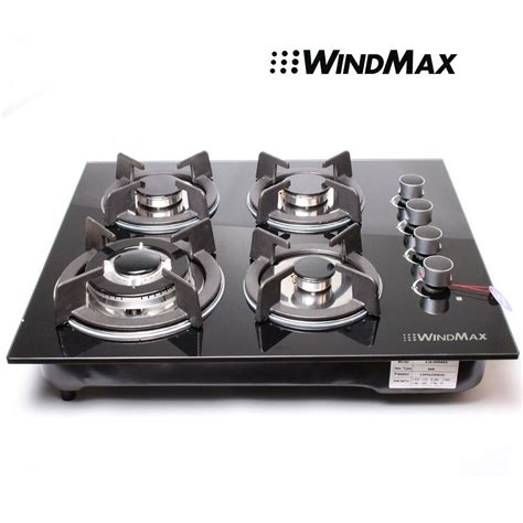 24 In Gas Cooktop - 24 quot black tempered glass built in kitchen 4 burner lpg ng