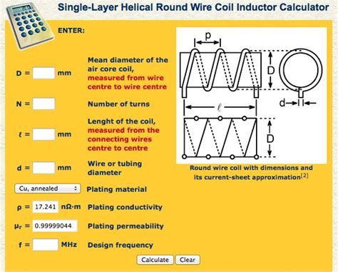 single layer helical wire coil inductor calculator sparky s