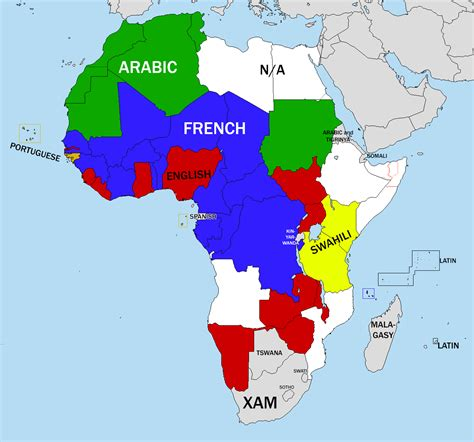 map of speaking countries in africa languages of africa by country poster