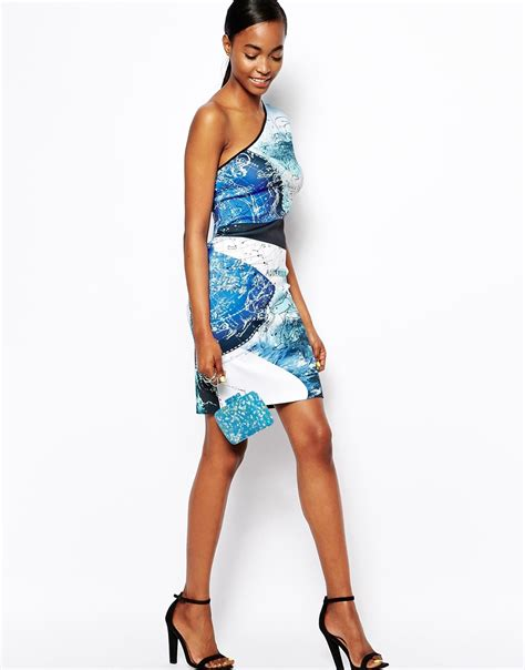 Blus Relina Clover Clothing 1 clover neoprene dress in zodiac print with one shoulder lyst