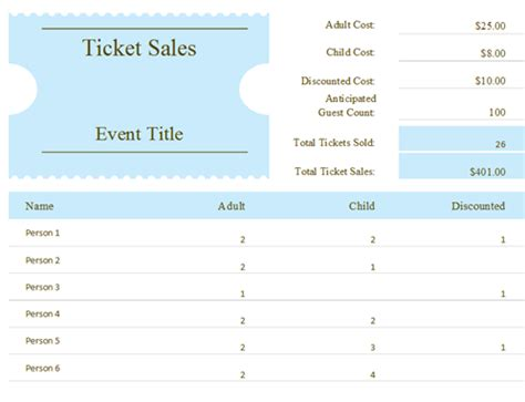 ticket sle template planners and trackers office