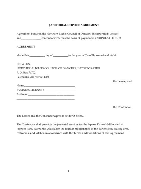 Commercial Cleaning Contract Templates by Janitorial Contract Template 2 Free Templates In Pdf