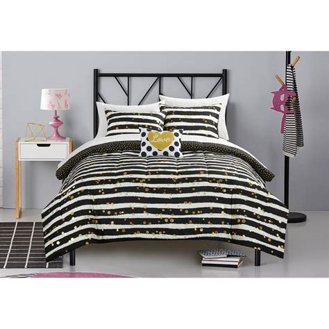 glitter bedding sets latitude gold glitter stripe and polka dot bed in a bag