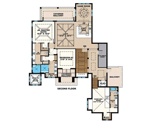 grand florida house plan with junior master suite budron