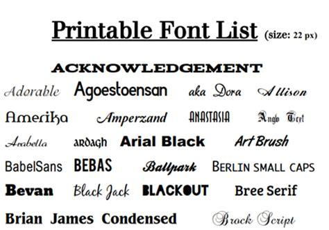 printable font names printable fonts list literary spring designs