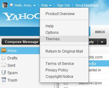 themes yahoo mail how to change the color of yahoo mail beta