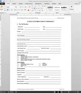 Customer Template by Customer Contact Worksheet Template