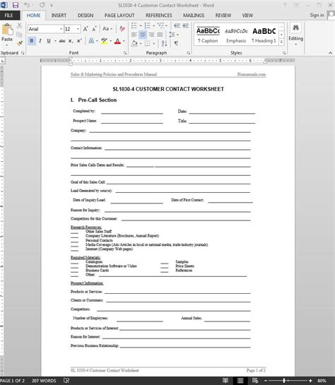 customer contact worksheet template