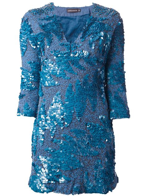 quincy label batik dress lyst antik batik ethan embellished dress in blue