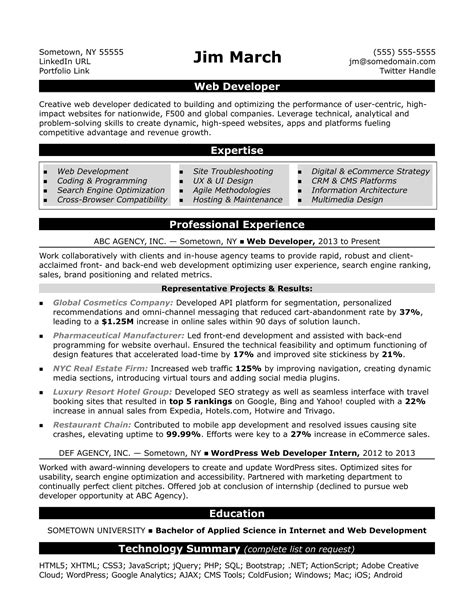 Web Developer Resume by Web Developer Resume Sle