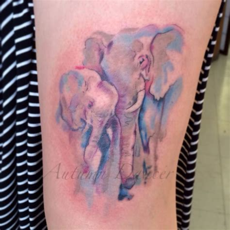 elephant mom and baby tattoo and baby elephant tattoos watercolour style